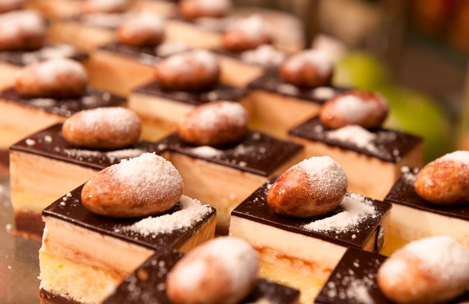 Cakes displayed in Kitchen dessert buffet